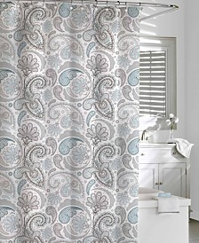 Cassadecor Cotton Printed  Floral Swirls Shower Curtain