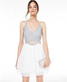 Juniors' Lace & Glitter Dress, Created for Macy's