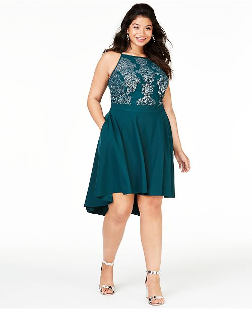 Trendy Plus Size High-Low Fit & Flare Dress, Created for Macy\'s