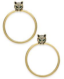 Gold-Tone Crystal Leopard Head Doorknocker Drop Earrings, Created for Macy's