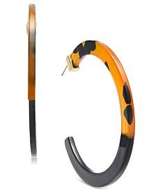 I.N.C. Gold-Tone Animal-Print Large Hoop Earrings, Created for Macy's