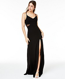 Juniors' Illusion Slit Maxi Gown