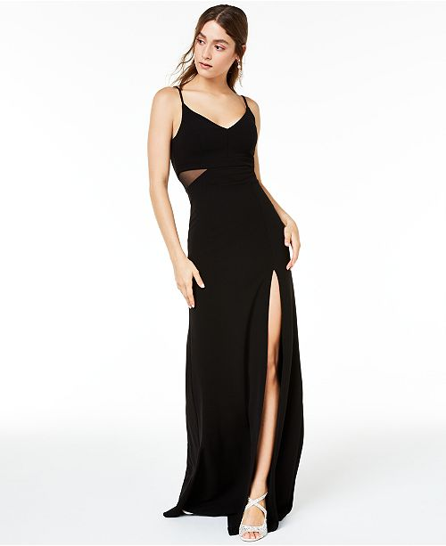 B Darlin Juniors' Illusion Slit Maxi Gown