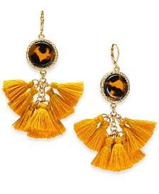 I.N.C. Gold-Tone Tortoise-Look Multi-Tassel Drop Earrings, Created for Macy's
