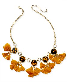 "I.N.C. Gold-Tone Tortoise-Look &  Multi-Tassel Statement Necklace, 18"" + 3"" extender, Created for Macy's"
