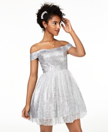 B Darlin Juniors' Off-The-Shoulder Metallic Dress