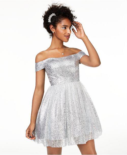 B Darlin Juniors' Off-The-Shoulder Metallic Dress