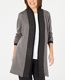 Contrast-Trim Open-Front Cardigan, Created for Macy's