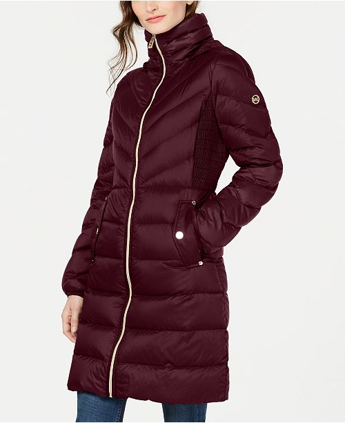 Michael Kors Petite Down Hooded Puffer Coat, Created For Macy's