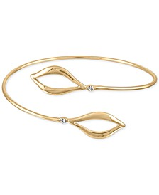 Gold-Tone Pavé Open Leaf Wrap Bangle Bracelet