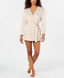 Stella Lace-Trim Wrap Robe