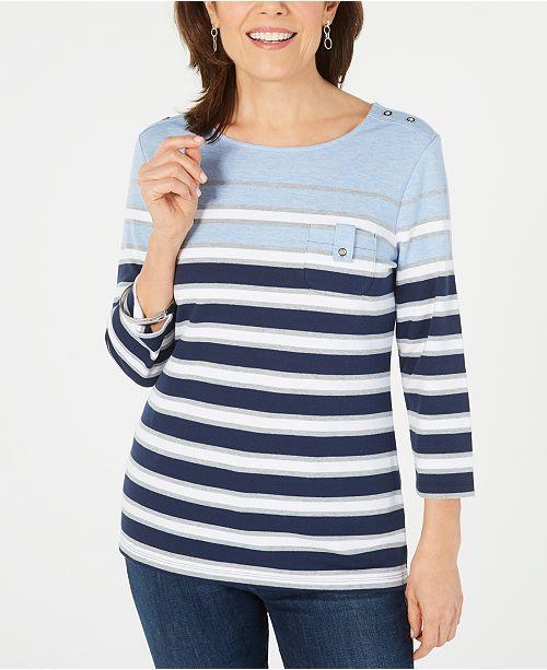 Karen Scott Sport 3/4-Sleeve Striped Top, Created for Macy's