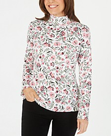 Printed Mock-Neck Long-Sleeve Top, Created for Macy's