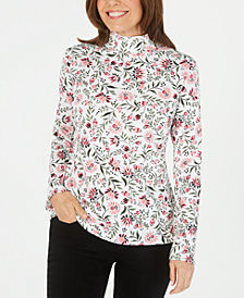 Karen Scott Petite Floral-Print Mock-Neck Top, Created For Macy's