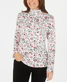 Karen Scott Printed Mock-Neck Long-Sleeve Top, Created for Macy's