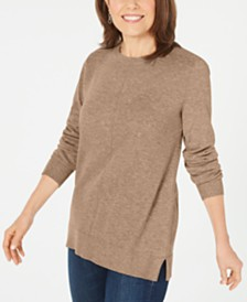 Karen Scott Crewneck Long-Sleeve Sweater, Created for Macy's
