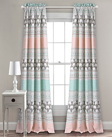 "Elephant Stripe Room Darkening 84""x52"" Window Curtain Set"