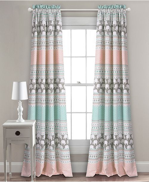 "Lush Decor Elephant Stripe Room Darkening 84""x52"" Window Curtain Set"