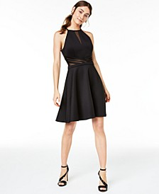 Juniors' Illusion-Mesh Fit & Flare Dress