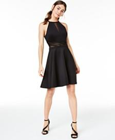 Morgan & Company Juniors' Illusion-Mesh Fit & Flare Dress
