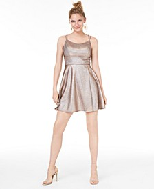Juniors' Metallic Fit & Flare Dress