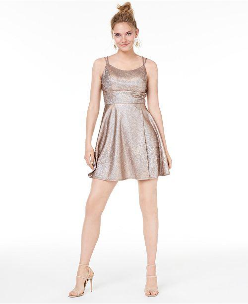Morgan & Company Juniors' Metallic Fit & Flare Dress