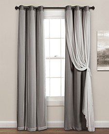 "Solid and Sheer Layered 38"" x 95"" Blackout Curtain Set"