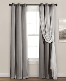 "Solid and Sheer Layered 95""x38"" Blackout Curtain Set"