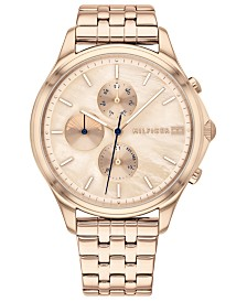 Tommy Hilfiger Women's Rose Gold-Tone Stainless Steel Bracelet Watch 38mm, Created For Macy's