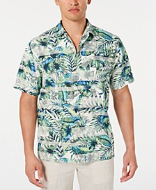 Men's Garden Of Hope & Courage IslandZone Stripe Palm-Print Camp Collar Shirt