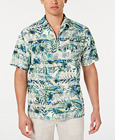 Tommy Bahama Men's Garden Of Hope & Courage IslandZone Stripe Palm-Print Camp Collar Shirt