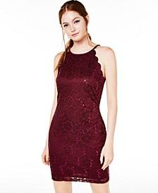 Juniors' Lace Scallop Dress