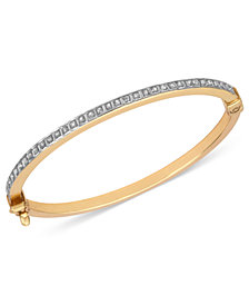 14k Gold Children's Bracelet, Diamond Accent Bangle Bracelet