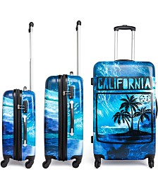 Maui and Sons 3 Piece Expandable Hardside Spinner Luggage Set with a TSA Lock