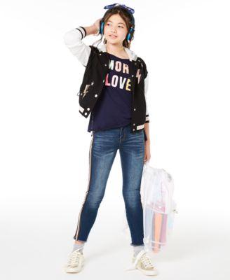 Big Girls Hooded Varsity Jacket, Created for Macy's