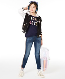 Epic Threads Big Girls Hooded Varsity Jacket, Love-Print T-Shirt & Side-Stripe Jeans, Created for Macy's & Champion Supersize Logo Backpack