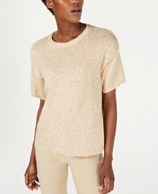 Eileen Fisher Organic Cotton Short-Sleeve Sweater