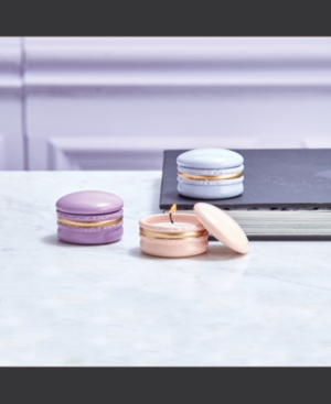 Macaron Set of 12 Filled Scented Candles in Display Box Includes 3 Colors/Scents: Pink/Champagne, Lavender/Lavender, Violet/Sweet Violet - Abt 3 Hrs Soy Wax/Porcelain