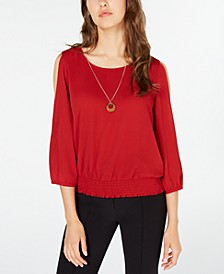 Juniors' Cold-Shoulder Smocked-Waist Blouse