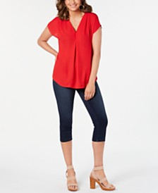 I.N.C. Inverted-Pleat Top & Cropped Jeans, Created for Macy's
