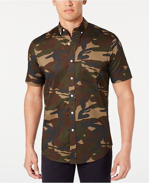 Club Room Men's Camo Stretch Shirt, Created for Macy's