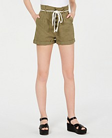 Juniors' Rope-Belt Paperbag Shorts