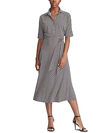 Petite Houndstooth Belted Jersey Shirtdress