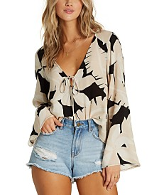 Billabong Juniors' Printed Bell-Sleeve Top