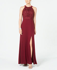 Nightway Lace & Glitter Gown