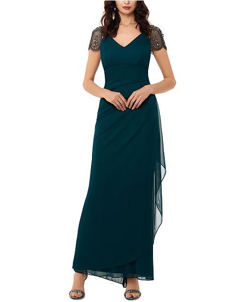 XSCAPE Petite Beaded Cap-Sleeve Gown