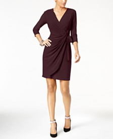 I.N.C. Petite Solid Wrap Dress, Created for Macy's