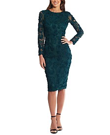 XSCAPE Lace Soutache Dress