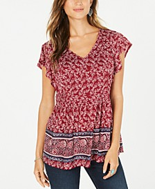 Smocked-Side Flutter-Sleeve Top, Created for Macy's