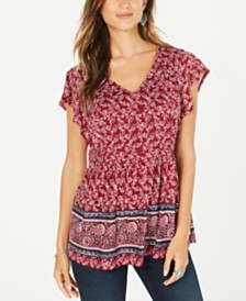 Style & Co Smocked-Side Flutter-Sleeve Top, Created for Macy's
